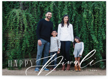This is a white diwali card by Anastasia Makarova called happiest diwali printing on recycled smooth signature in standard.