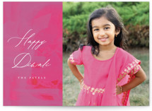 This is a pink diwali card by AK Graphics called Painted Diwali printing on recycled smooth signature in standard.