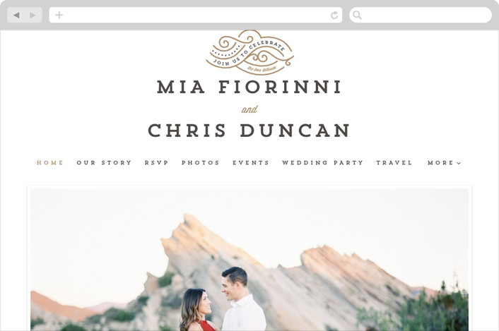 """Linea Letterpress"" - Modern Wedding Websites in Matte Gold by Lori Wemple."