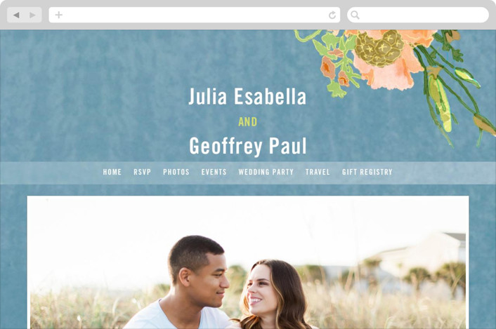 """""""Bouquet D'Amour"""" - Floral & Botanical, Rustic Wedding Websites in Pacific Jade by Beth Ann."""