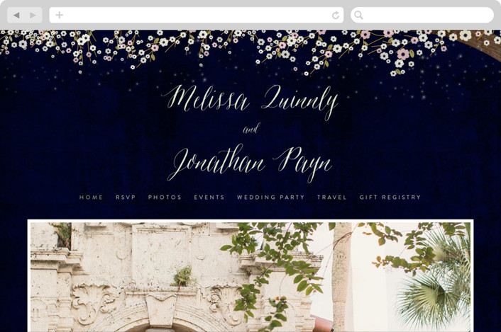 This is a blue wedding website by Rebecca Bowen called Outside printing on digital paper.