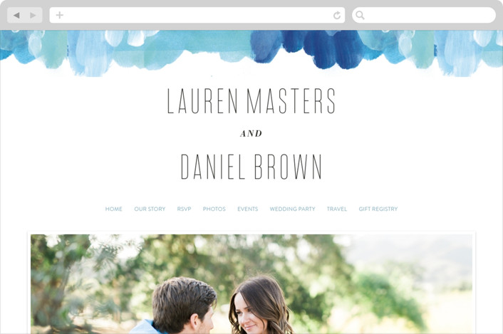 This is a blue wedding website by Alethea and Ruth called Gallery Abstract Art printing on digital paper.