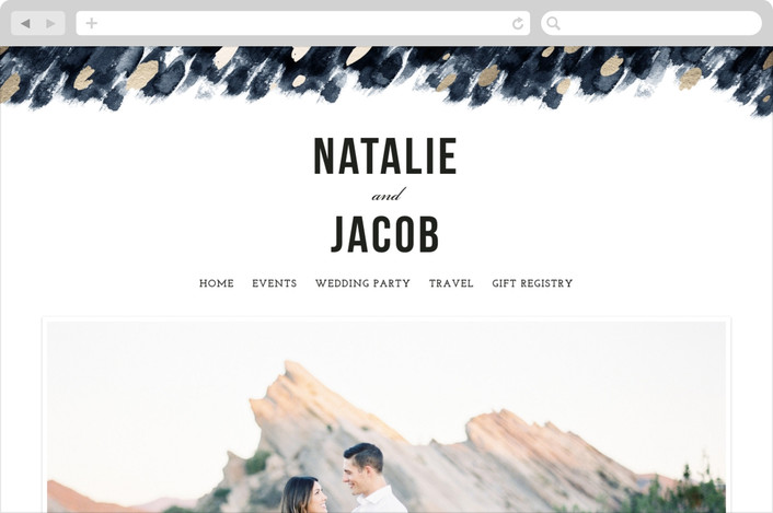 """Midnight And Gold"" - Wedding Websites in Midnight by Papernoten."