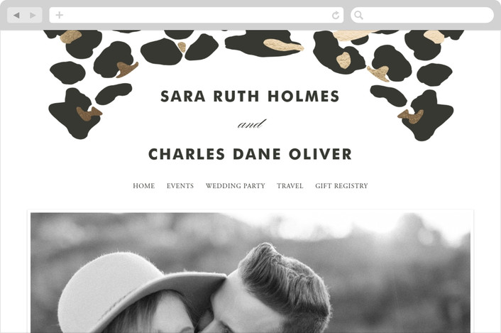 """On The Wild Side"" - Wedding Websites in Gold by Kimberly Morgan."