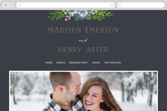 This is a blue wedding website by Melissa Egan of Pistols called Rustic Wooded Romance printing on digital paper.