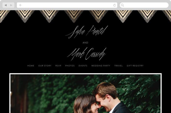 """Gilded Ikat"" - Wedding Websites in Midnight by Carolyn Nicks."