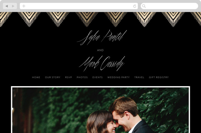 This is a black wedding website by Carolyn Nicks called Gilded Ikat printing on digital paper.