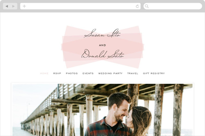 This is a pink wedding website by SimpleTe Design called Romantic Frame printing on digital paper.