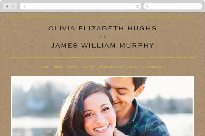 """Vintage Kraft"" - Vintage, Modern Wedding Websites in Chartreuse by Waldo Press."