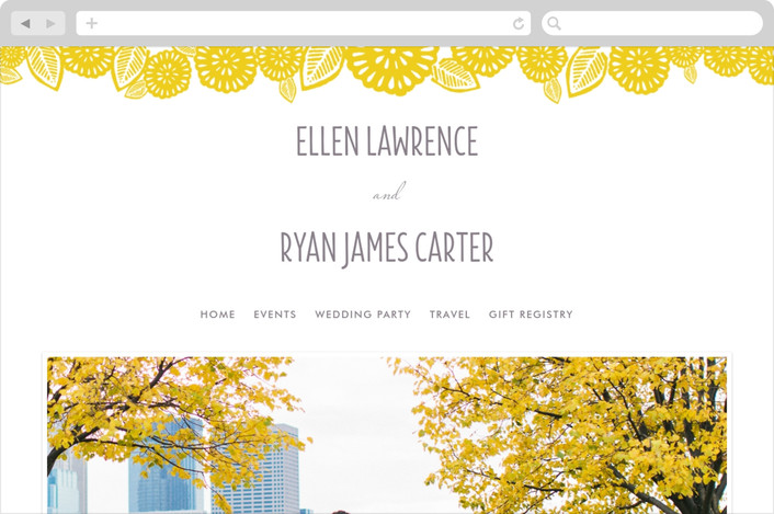"""Bold Block Print"" - Floral & Botanical, Modern Wedding Websites in Mustard by Katharine Watson."