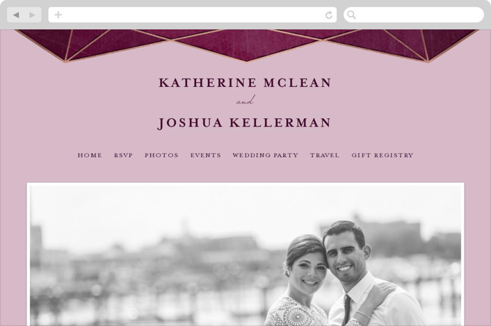 """Abstract Jewel"" - Wedding Websites in Amethyst by Rebecca Bowen."