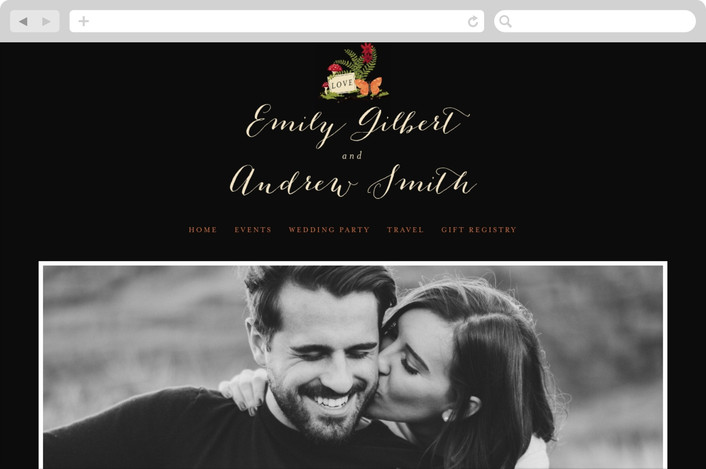 """""""Bell Jar"""" - Whimsical & Funny, Rustic Wedding Websites in Persimmon by Pistols."""