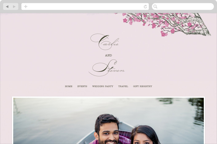 """Cherry Blossom"" - Rustic Wedding Websites in Sweet Cherry by Jenifer Martino."