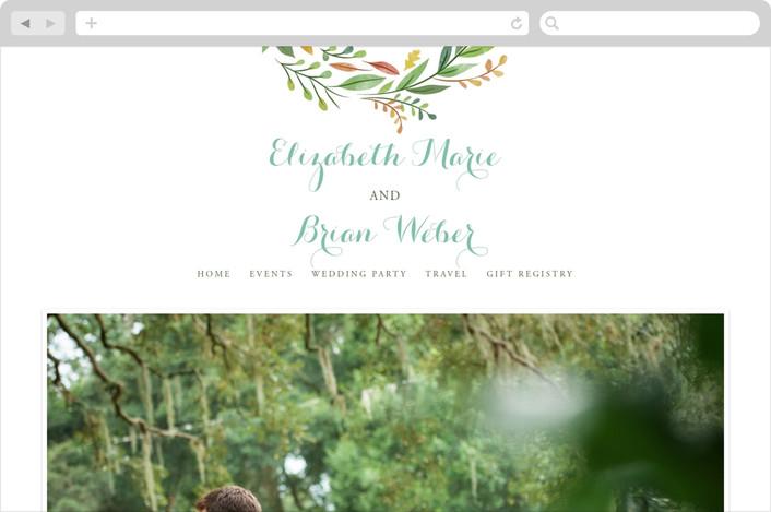 """Forest Wreath"" - Floral & Botanical Wedding Websites in Forest Leaves by Ariel Rutland."
