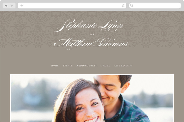 """Formalities"" - Classical Wedding Websites in Warm grey by Milkmaid Press."