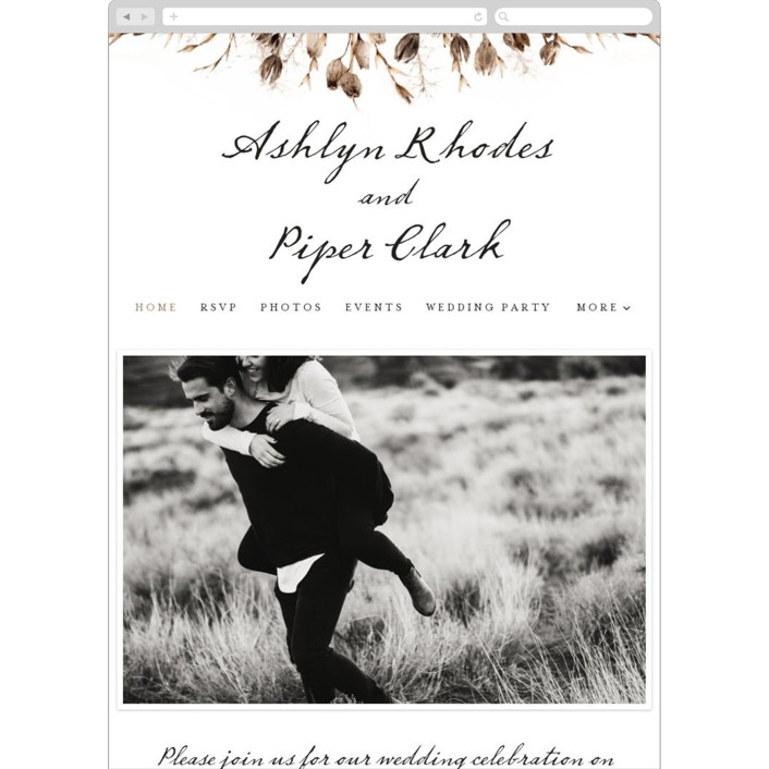 """Gone To Seed"" - Rustic Wedding Websites in Taupe by Honeybunch Studio."