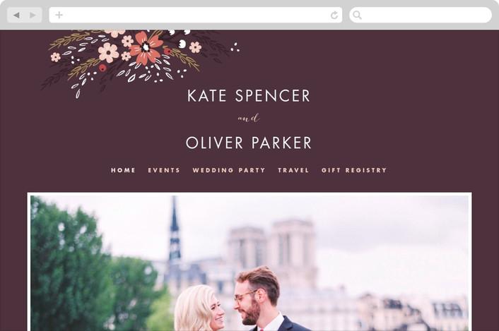 """Grand Fleur"" - Floral & Botanical Wedding Websites in Merlot by Kristie Kern."