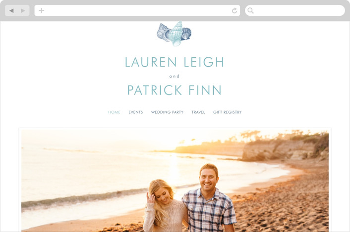 """By The Sea"" - Beach Wedding Websites in Columbia Blue by Splendid Press."