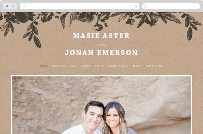 """""""Love in Bloom"""" - Floral & Botanical, Rustic Wedding Websites in Kraft by R studio."""