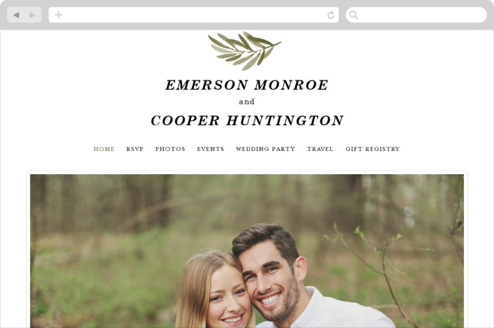 """Olive Branch"" - Wedding Websites in Olive by Wildfield Paper Co.."
