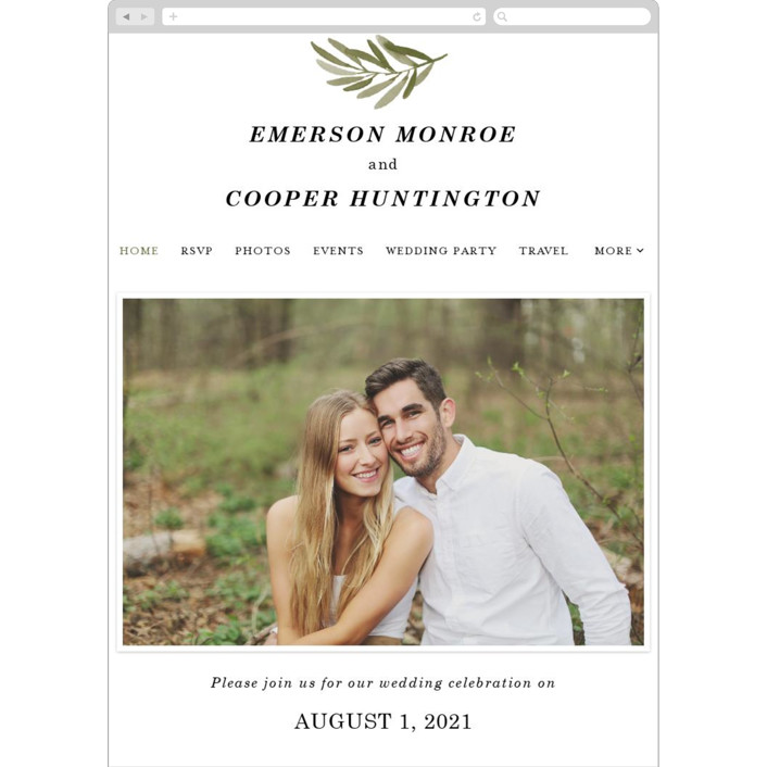"""""""Olive Branch"""" - Wedding Websites in Olive by Wildfield Paper Co."""