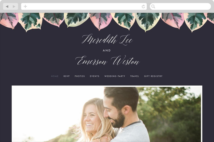 """""""Painterly Plant"""" - Wedding Websites in Midnight by Hooray Creative."""
