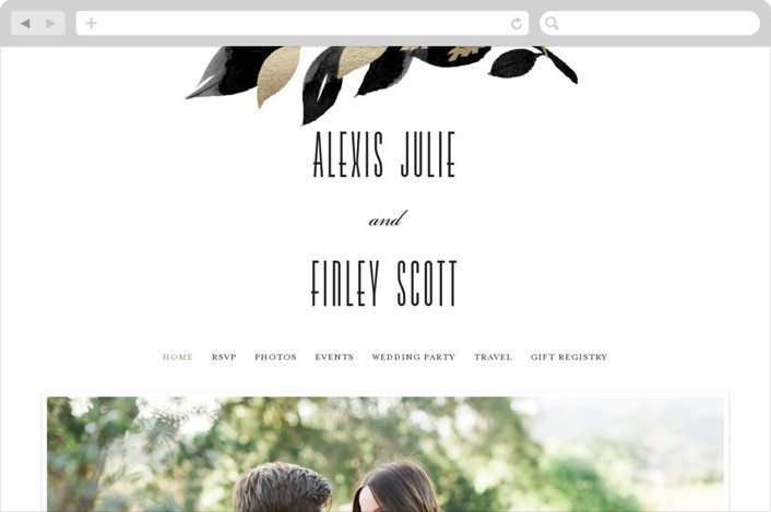 This is a black and white wedding website by Four Wet Feet Studio called Glamorous Foliage printing on digital paper.