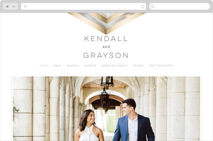"""Modern Chevron"" - Wedding Websites in Brass by Hooray Creative."