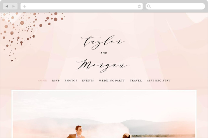 This is a pink wedding website by Jennifer Postorino called Formal Watercolor printing on digital paper.