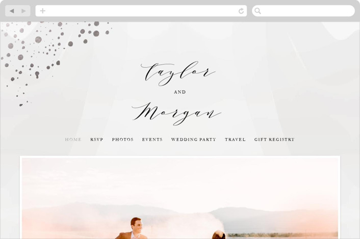 This is a grey wedding website by Jennifer Postorino called Formal Watercolor printing on digital paper.