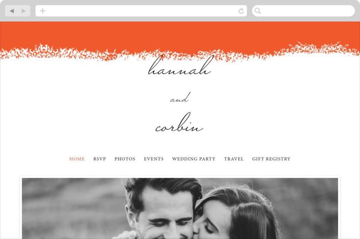 """Joyfully Ever After"" - Wedding Websites in Tangerine by Faiths Designs."