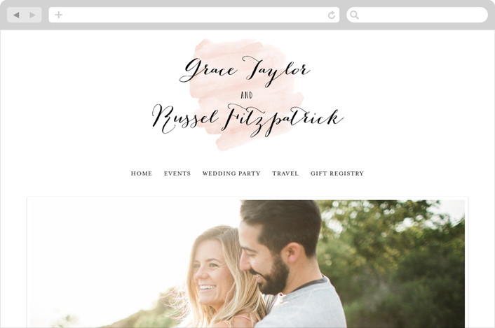 """Pastel Watercolor Wash"" - Whimsical & Funny, Bold typographic Wedding Websites in Blush by Hooray Creative."