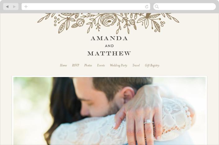 This is a beige wedding website by Phrosne Ras called Prettiest Wreath printing on digital paper.