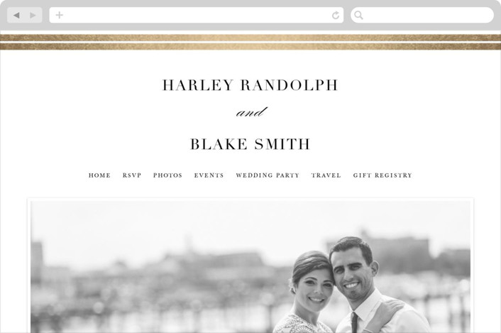 """Gilded Frame"" - Wedding Websites in Gold by Stacey Meacham."