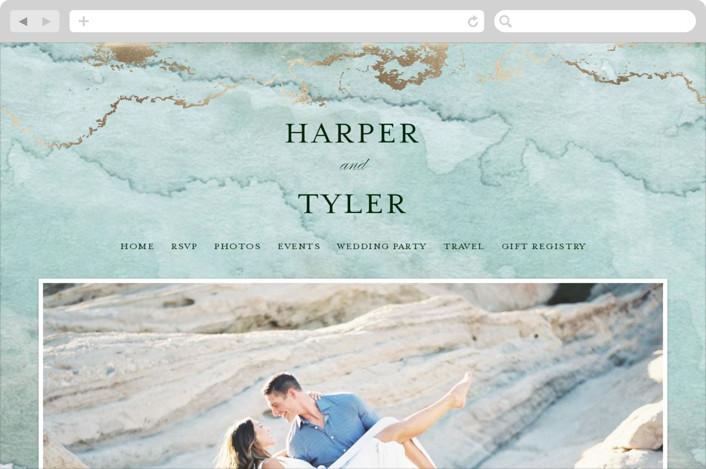 """Gilded Shore"" - Wedding Websites in Aventurine by Grace Kreinbrink."