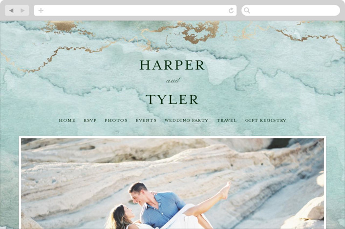 This is a blue wedding website by Grace Kreinbrink called Gilded Shore printing on digital paper.