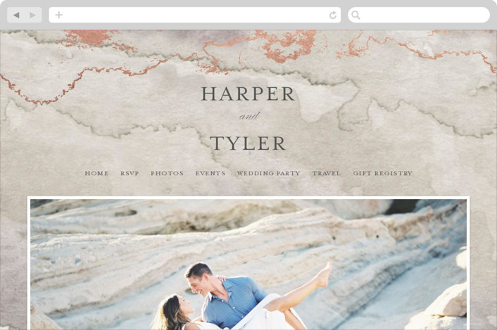 This is a beige wedding website by Grace Kreinbrink called Gilded Shore printing on digital paper.