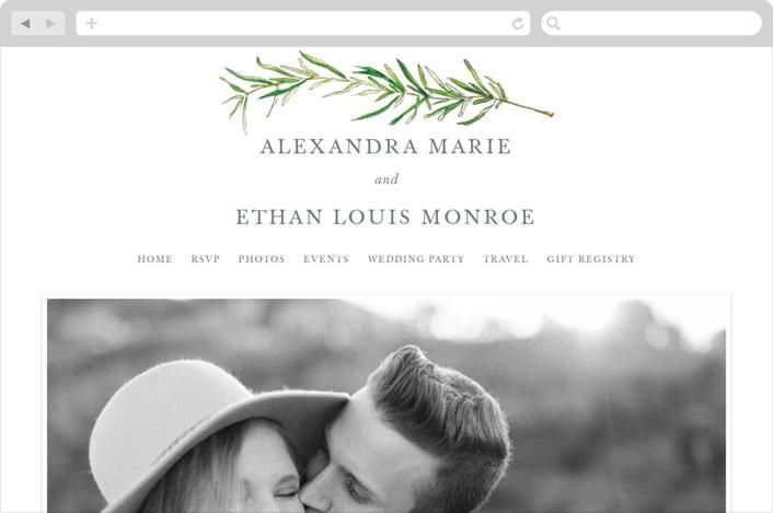 """""""Simple Sprigs"""" - Wedding Websites in Fern by Erin Deegan."""