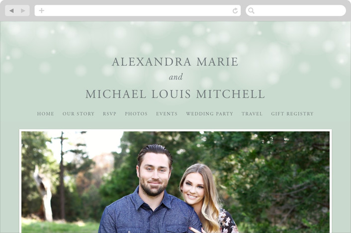 """Twinkling Lights"" - Elegant, Classical Wedding Websites in Seagreen by Erin Deegan."