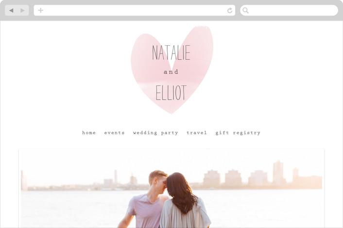 """""""Typewritten Heart"""" - Simple, Modern Wedding Websites in Blush by Robin Ott."""