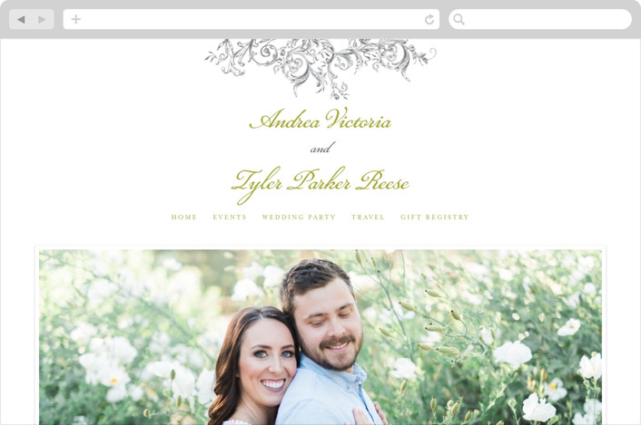"""Victorian Vine Monogram"" - Classical Wedding Websites in Fern by Brynn Rose Designs."