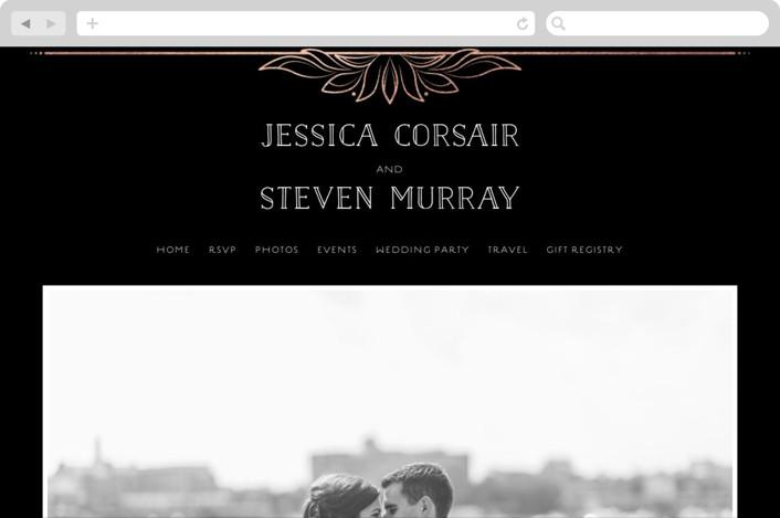 """Halcyon"" - Wedding Websites in Rose Gold by GeekInk Design."