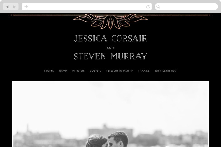 """Halcyon"" - Vintage, Elegant Wedding Websites in Rose Gold by GeekInk Design."