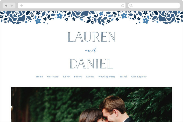 """Heirloom Frame"" - Monogrammed, Floral & Botanical Wedding Websites in Denim by Ariel Rutland."