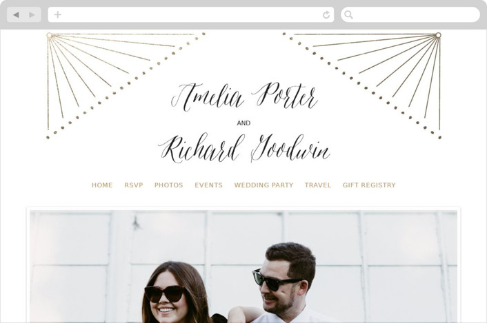 """Diamond Burst"" - Wedding Websites in Gold by Frooted Design."