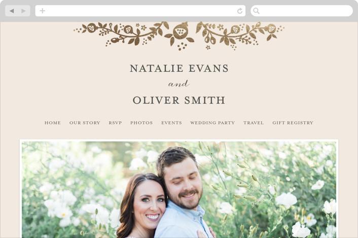 """Golden Grace"" - Wedding Websites in Eggshell by Sharon O.."
