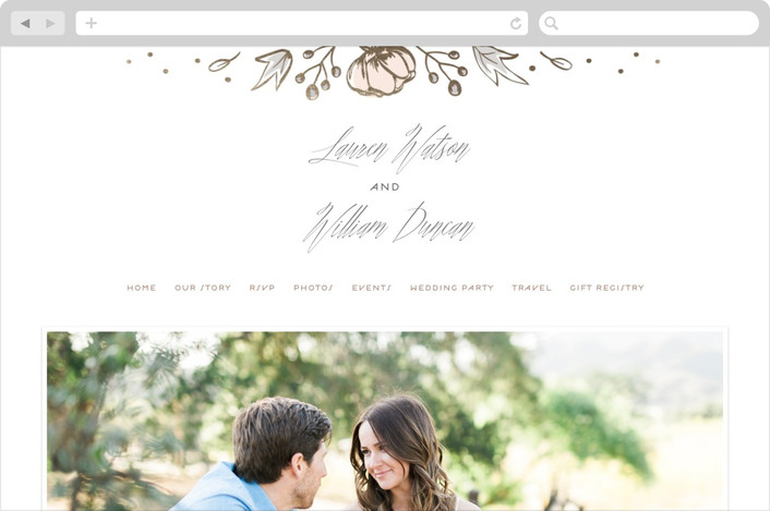 """Romanced"" - Wedding Websites in Peach by Carolyn MacLaren."