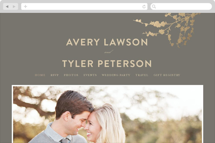 """In Bloom"" - Wedding Websites in Graphite by Three Kisses Studio."