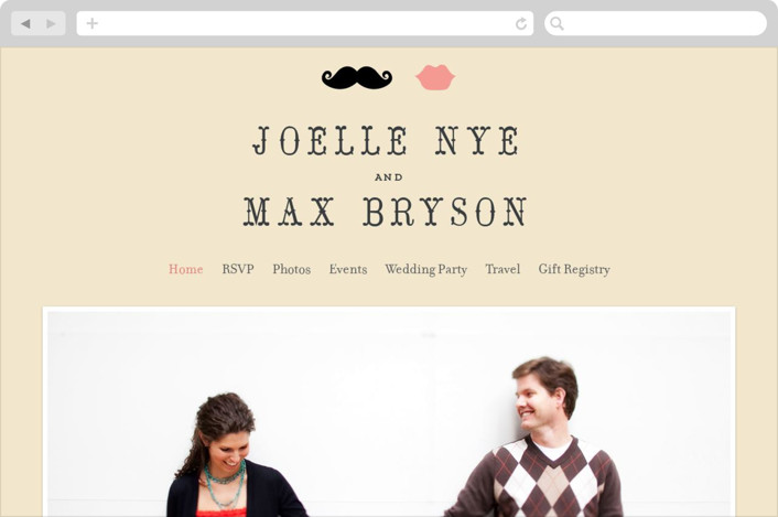 This is a beige wedding website by Penelope Poppy called Stache + Kiss printing on digital paper.