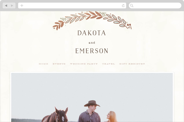 """Rustic Wreath"" - Wedding Websites in Rose Gold by Hooray Creative."